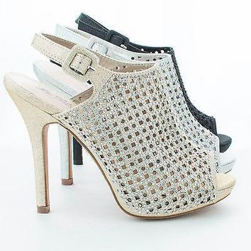 Yael77 Silver Sparkle By Blossom, Peep Toe Laser Cut Out Rhinestone Studded Stiletto Pumps