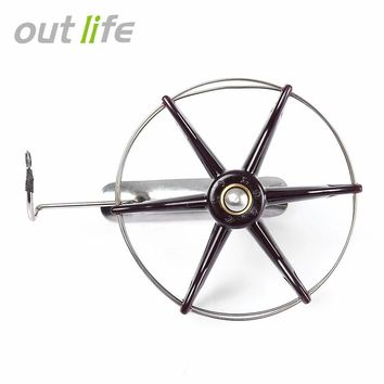 Outlife 80 to 200mm Stainless Steel Wire Cage Hand Gear Eight Trigram Fishing Reel Wheel Fish Anchor Accessory