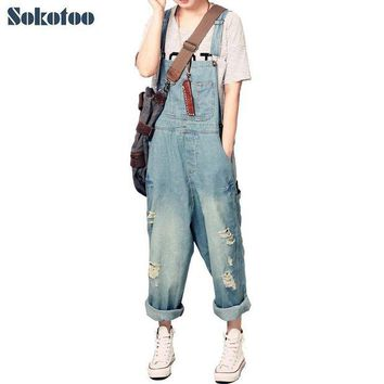 LMFGC3 Sokotoo Women's casual loose denim overalls Lady's hole ripped baggy jeans Wide leg pants for woman