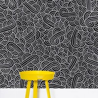 'Faux silver and black swirls doodles' Wallpaper by Savousepate on miPic