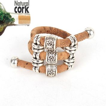Natural cork Antique sliver beads vintage women cork Ring original adjustable  handmade wooden vegan jewelry HR-011