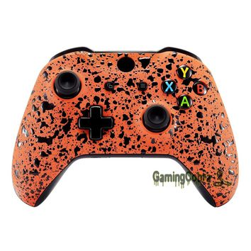 Custom Textured Orange Front Housing Shell Cover Replacement Mod for Xbox One S One X Controller - SXOFP06