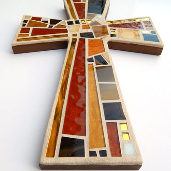"Mosaic Wall Cross, Large, Shades of Brown + Gold Mirror, Handmade Stained Glass Mosaic Cross Wall Decor, 15"" x 10"""