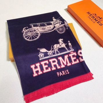 DCCKW2M HERMES Woman Fashion Accessories Sunscreen Cape Scarf Scarves-Dark blue