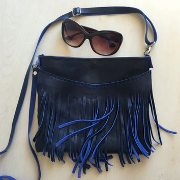 Blue Leather Crossbody Bag,Fringe Leather Bag,Fringe Leather Purse,Boho Fringe Messenger Bag,Blue leather Bag,Genuine Leather Crossbody Bag