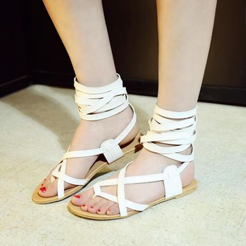 new arrivals women shoes fashion gladiator casual lace up sandals soft leather cross tied summer flats sandal boots size 34 47