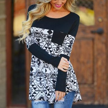 Geometric Printed long Sleeve Single Front Pocket Sweat Shirt