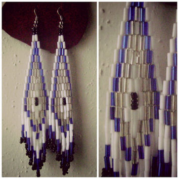 90s beaded CHANDELIER earrings vintage white silver blue native american long seed bead accessories hippie boho fringe tribal festival 1990s