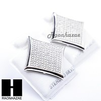 Iced Out Sterling Silver .925 Lab Diamond 19mm Square Screw Back Earring SE010S