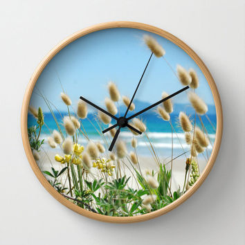 Beach clock with bunny tails sea grass, beach cottage photo wall clock home decor, modern beach theme decorating