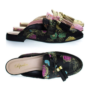 Lulani Black Peony By Paprika, slip On Loafer Mule w Tassels & Floral Embroidered Stitching On Satin
