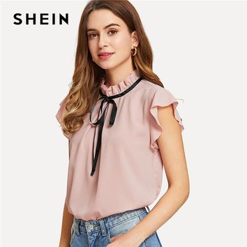 SHEIN Bow Tied Frilled Neck Button Back Blouse 2018 Summer Stand Collar Cap Sleeve Ruffle Youthful Shirt Girl Preppy Blouse