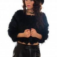 Black Faux Fur Coat with Hook Fastening
