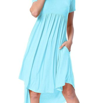 Chicloth Light Blue Short Sleeve High Low Pleated Casual Swing Dress