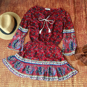 Boho dress Long sleeve Floral printed Bohemian Gypsy summer Clothing Beachwear party festival fashion gift for her Red