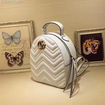 GUCCI GG Marmont M476671 Women Leather backpack 2019 New WHITE
