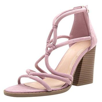 Cambridge Select Womens Open Toe Strappy Cutout Back Zip Tassel Chunky Stacked Sculptural Block Heel Sandal