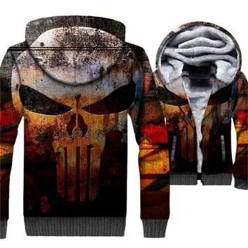 Skull 3D Hoodie Winter Warm Jacket Men Punk Casual Thick Warm Hooded