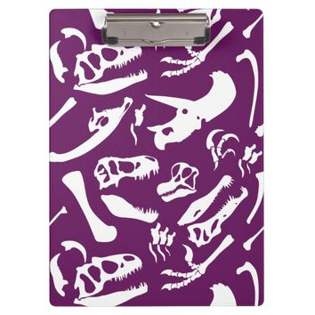 Dinosaur Bones (Purple) Clipboard