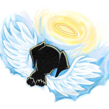 Angel Dog Art Print, Puggle Artwork, Pet Loss, Black Dog Portrait, 8x10 Wall Art, Puppy Print, Pet Memorial, In Memory, Rainbow Bridge Art