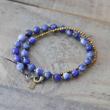 Sodalite Wrist Mala Bracelet or Choker for Intuition