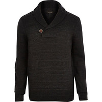 River Island MensGrey shawl neck knitted sweater