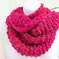Fushia infinity scarf, Knit cowl, long loop scarf, gift under 40