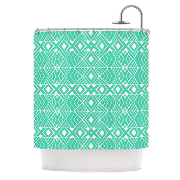 """Pom Graphic Design """"Going Native"""" Teal Shower Curtain"""