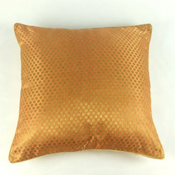Polka Dot Sparkle Pillow, Metallic Gold Cushion, Plush Throw Pillow, Metallic Gold Pillow Cover,  Anniversary Gift