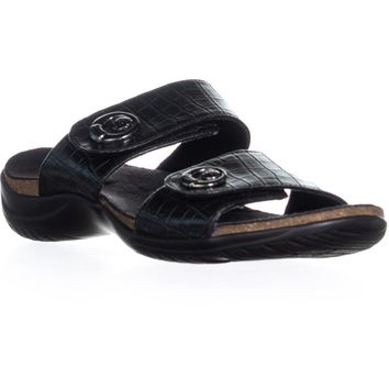 Easy Street Dory Slide On Sandals, Black Crocodile, 6.5 US