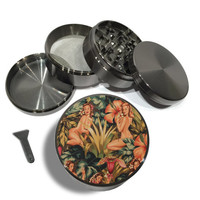 "Pin Up Girl Mod Jungle Pattern 4 Piece Silver Aluminum or Zinc Metal Grinder 2.5"" Vintage Grinders Herb Herbal Floral Print 60's 70's"