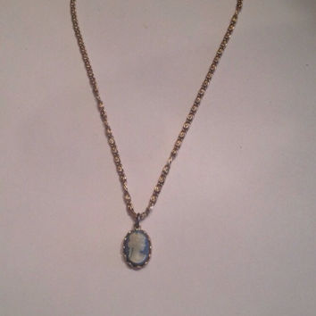 Vintage Avon Blue Cameo Necklace Choker Costume Jewelry