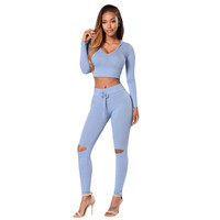 Spring Autumn Style Bodycon Suit 2 Piece Outfits Hollow Out Pants Womens Clothing