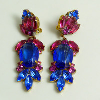 Large Czech Glass Dangling Clip Earrings Cobalt Blue and Hot Pink