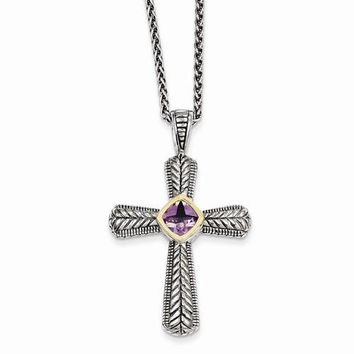 14K Yellow Gold Amethyst Cross Necklace