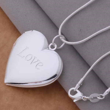 LOVE Sterling Heart Locket Necklace