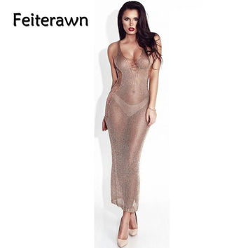 Feiterawn Summer Sleeveless Spaghetti Strap Hollow Out V Neck Beach Long Dress Women 2017 Knitted Sexy Bikini Cover Up DY1600