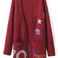 ROMWE   Letter & Badge Print Open Front Cardigan, The Latest Street Fashion