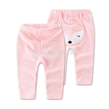 Cute Fox Kids Girls Pants 2016 Infant Casual Trousers Winter Thick Warm Cotton Leggings Girl Pants Clothes