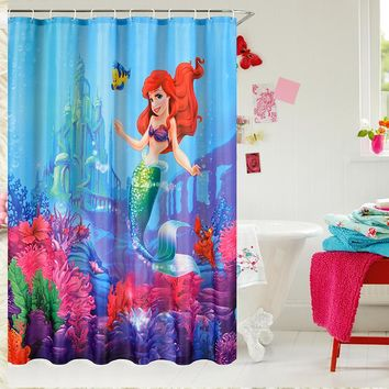 1pc Shower Curtain Little Mermaid Fairy Pattern Bathroom Waterproof Mildewproof Polyester Fabric With Fabric 72 Inch +12 Hooks