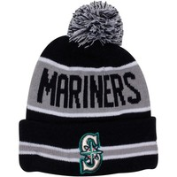 New Era Seattle Mariners Youth The Coach Cuffed Knit Hat with Pom - Black/Gray