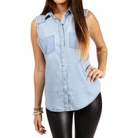 Light Denim Boxy Top