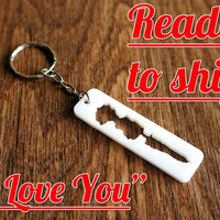 "SoundWave Keychain ""I Love You"" ~Ready to Ship~  White Acrylic Sound Wave Keyring Voicewave Gift Voice Wave Gift for Him Gift for Her"