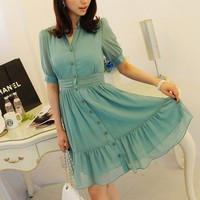 Mint Blue Chiffon Button Dress- short sleeve flare female chiffon dress chiffon flare sml blue Any Age Female | Dressholic - Clothing on ArtFire