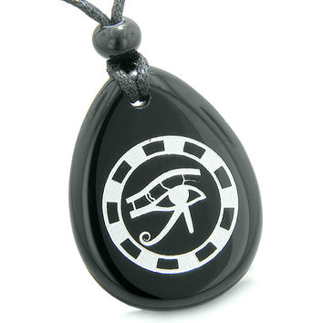 Amulet All Seeing Eye of Horus Ancient Circle of Life Black Agate Pendant Necklace
