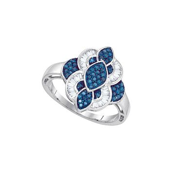 10k White Gold Womens Blue Colored Diamond Wide Cocktail Cluster Ring 3/8 Cttw