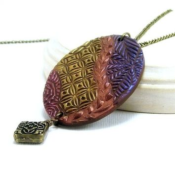 Multicolored Abstract Art Pendant Necklace, Unique Art Necklace, Vacation Jewelry, Fun Affordable Handmade Polymer Clay Jewelry,