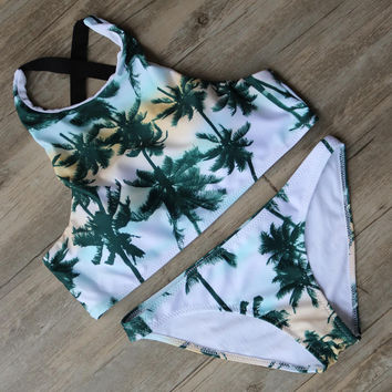 Palm Tree Printed Bikini Bandage Swimsuit Padded Bra Bathing Suit