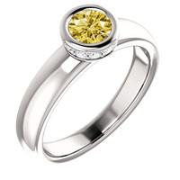 1.71 carat Round yellow canary diamond solitaire style ring white gold jewelry