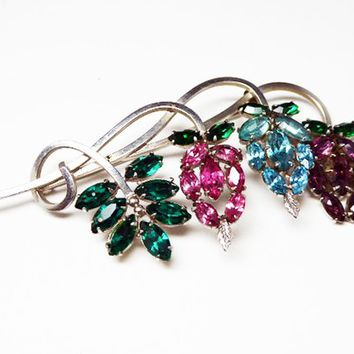 Crystal Rhinestone Flower Brooch - Dangling Grapes - Silver Tone, Pink, Purple, Green & Light Blue - Mid Century Stylistic Pin - 1960s